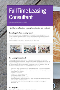 Full Time Leasing Consultant