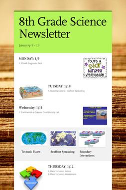 8th Grade Science Newsletter