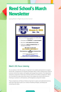 Reed School's March Newsletter