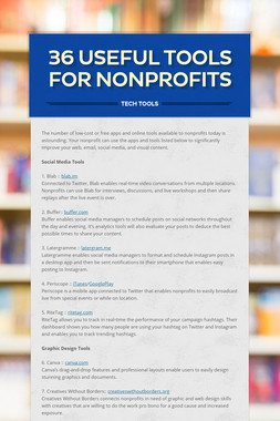 36 Useful  Tools for Nonprofits