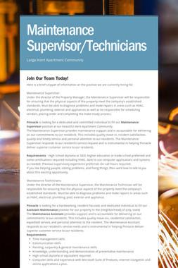Maintenance Supervisor/Technicians