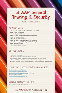 STAAR General Training & Security