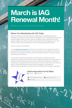March is IAG Renewal Month!