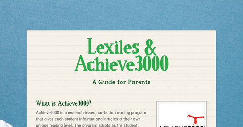 Lexiles & Achieve3000 | Smore Newsletters