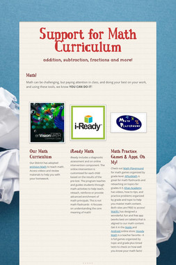 Support for Math Curriculum