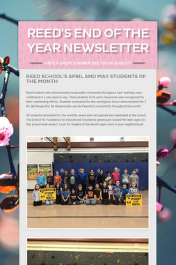 Reed School's April Newsletter