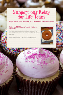 Support our Relay for Life Team