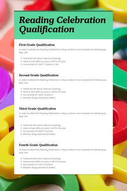 Reading Celebration Qualification