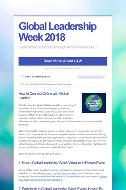 Global Leadership Week 2018