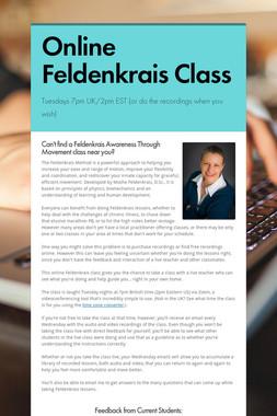 Online Feldenkrais Class