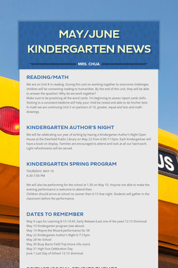 May/June Kindergarten News
