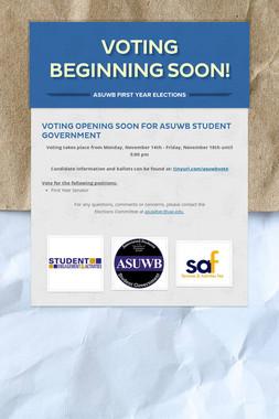 VOTING BEGINNING SOON!