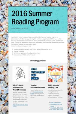 2016 Summer Reading Program