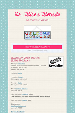Dr. Wise's Classroom Newsletter