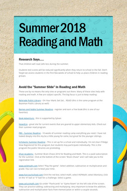 Summer  2018 Reading and Math