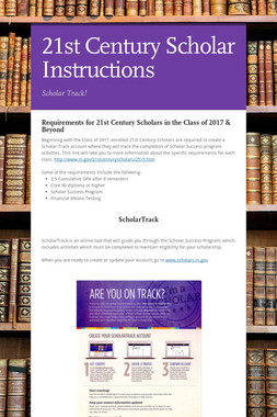 21st Century Scholar Instructions