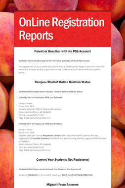 OnLine Registration Reports