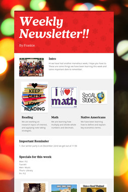 Weekly  Newsletter!!