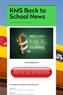 KMS Back to School News