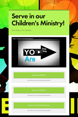 Serve in our Children's Ministry!