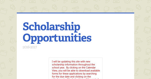 Scholarship Opportunities Smore Newsletters