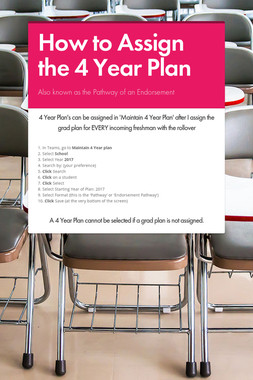 How to Assign the 4 Year Plan