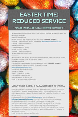Easter Time: Reduced Service
