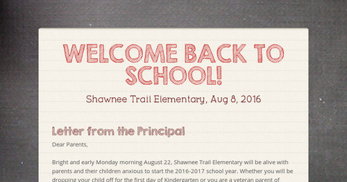 WELCOME BACK TO SCHOOL!   Smore Newsletters for Education