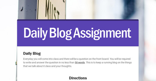 blog assignments