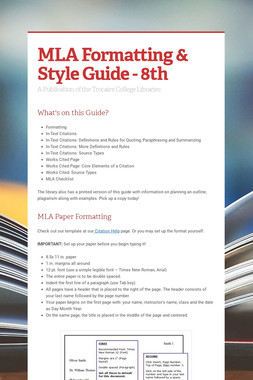 MLA Formatting & Style Guide - 8th
