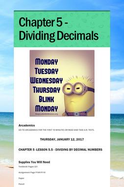 Chapter 5 - Dividing Decimals