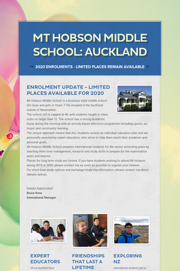 Mt Hobson Middle School: AUCKLAND