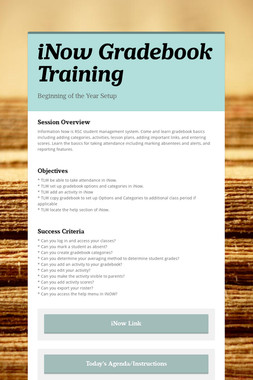 iNow Gradebook Training