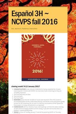 Español 3H ~ NCVPS fall 2016