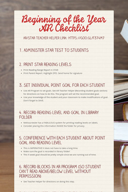 Beginning of the Year AR Checklist
