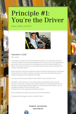 Principle #1:  You're the Driver