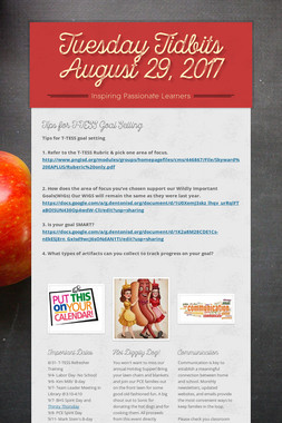 Tuesday Tidbits August 29, 2017