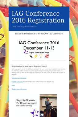 IAG Conference 2016 Registration