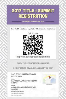 2017 TITLE I SUMMIT REGISTRATION