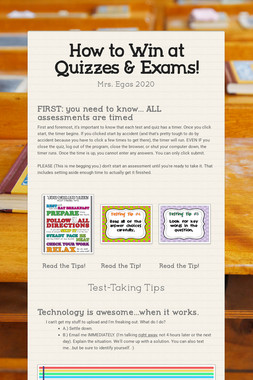 How to Win at Quizzes & Exams!