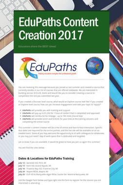 EduPaths Content Creation 2017
