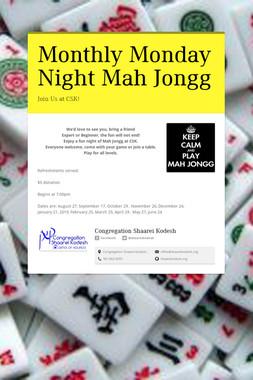 Monthly Monday Night Mah Jongg