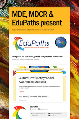 MDE, MDCR & EduPaths present