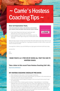 ~ Carrie's Hostess Coaching Tips ~