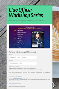 Club Officer Workshop Series