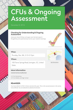 CFUs & Ongoing Assessment