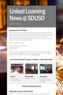 Linked Learning News @ SDUSD