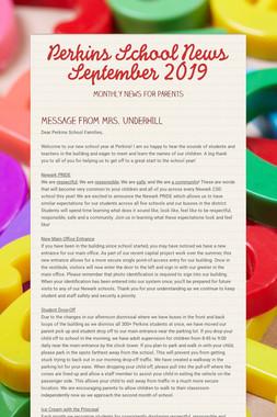 Perkins School News  September 2019