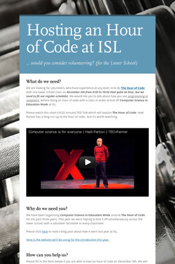 Hosting an Hour of Code at ISL