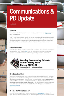 Communications & PD Update